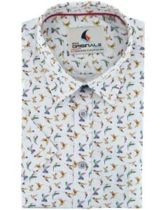 Gcm Originals overhemd korte mouw big men fit pink bird
